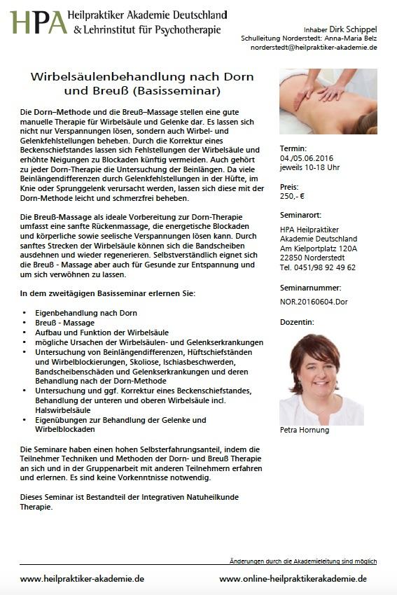 Dorn- und Breuß Therapie (Basisseminar) - Die Heilpraktiker Akademie